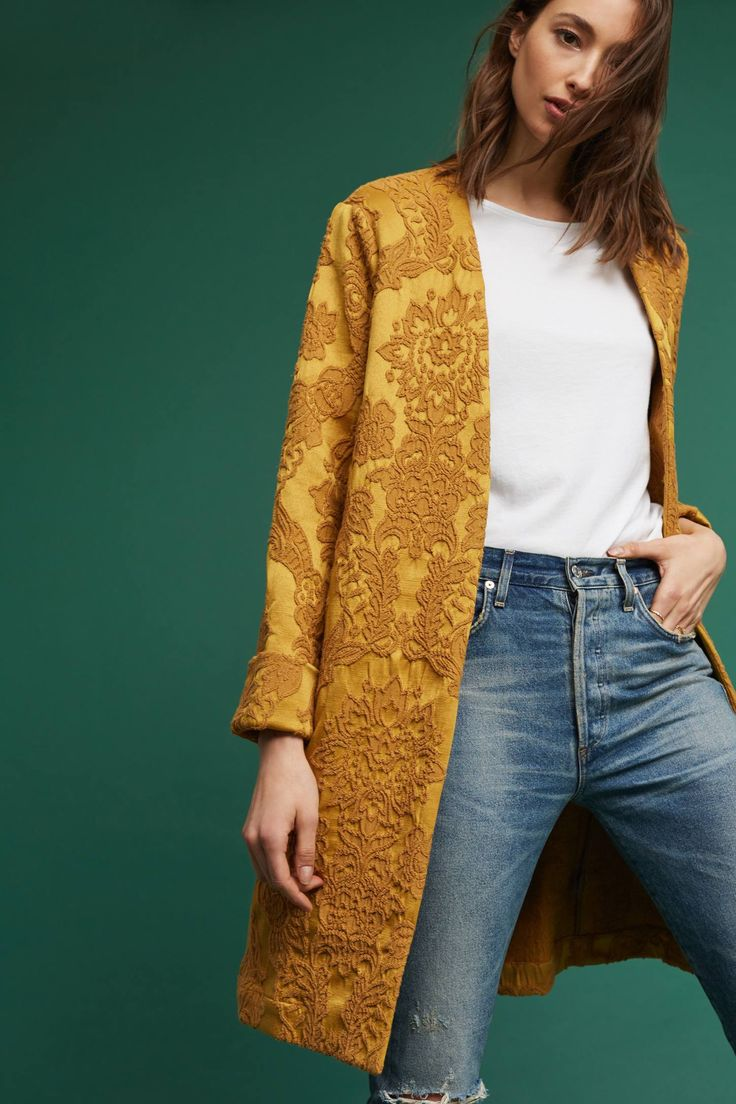 Slide View: 1: Ochre Jacquard Coat. This is so beautiful
