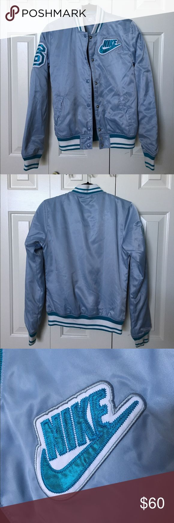 Nike Varsity Jacket Women's Small varsity jacket in a gorgeous powder blue! Never worn, in perfect condition! Nike Jackets & Coats