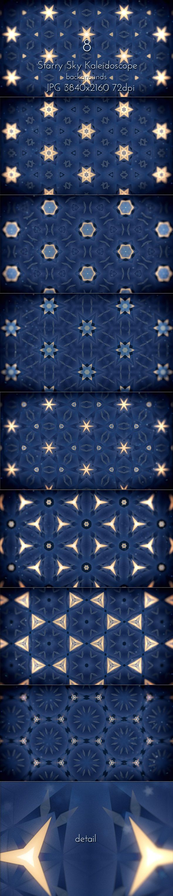 Starry Sky Kaleidoscope Patterns UltraHD Backgrounds by cinema4design. Wallpapers collection.  8 JPG images, 3840×2160 (16:9 format), 72 DPI.