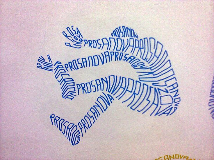Opdracht 5b: Typografie: verwerk een slogan over gezond bewegen in het silhouet van een (bewegend) figuur
