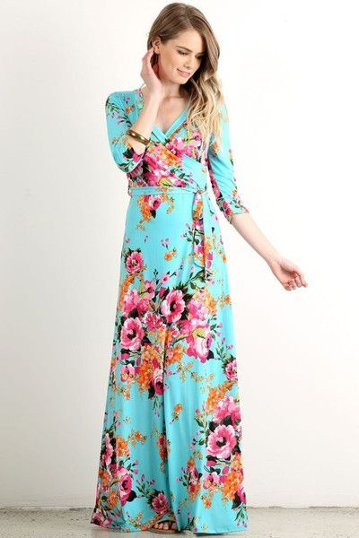 I've been enjoying a lot of the floral prints I've been seeing. This one is great because of the bright colors, especially the bright blue background. I also like the fact that this is a floor-length wrap dress with sleeves to the elbow.