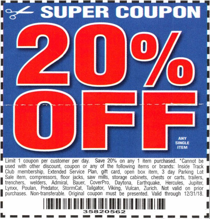 Harbor Freight 20 percent off coupon Harbor Freight