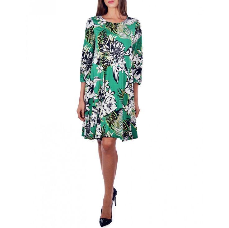 Green Flower Printed Dress - Just Arrived - IMBRACAMINTE - FEMEI