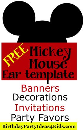 FREE Mickey Mouse Ears Template!   Use to make Mickey and Minnie Mouse party Invitations, Decorations, Banners, Water bottle labels, and much more!   Also includes a printable insert for invitations.    http://www.birthdaypartyideas4kids.com/mickey-mouse-ears.htm