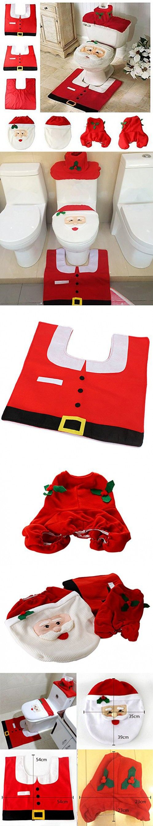 Happy Santa Toilet Seat Cover + Rug + Tank & Tissue Box Cover | Xmas Gift for Bathroom Christmas Decoration Set of 3 (Red)