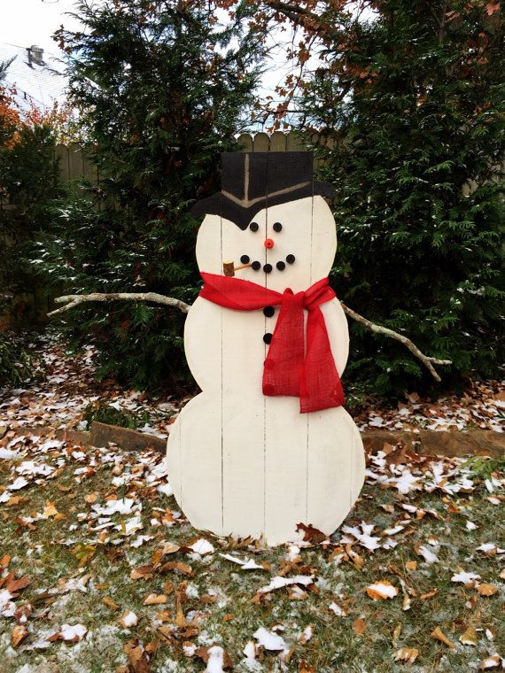 Decorative Wooden Outdoor Snowman Large Wooden by CleverGoose