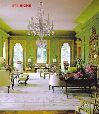 """William Haines' legendary """"garden room"""" at Winfield House, the U.S. Ambassador's residence in London. Gorgeous apple green chinoiserie!"""