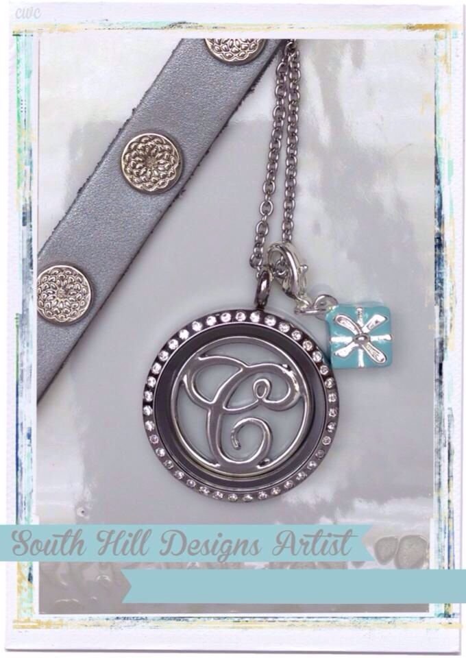 South Hill Designs large crystal locket with monogram screen.