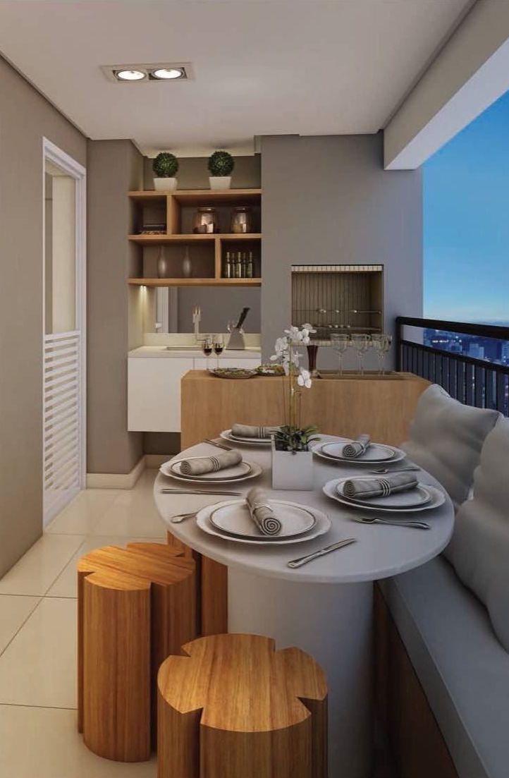 Varanda Pequena De Apartamento Com Churrasqueira Kitchen