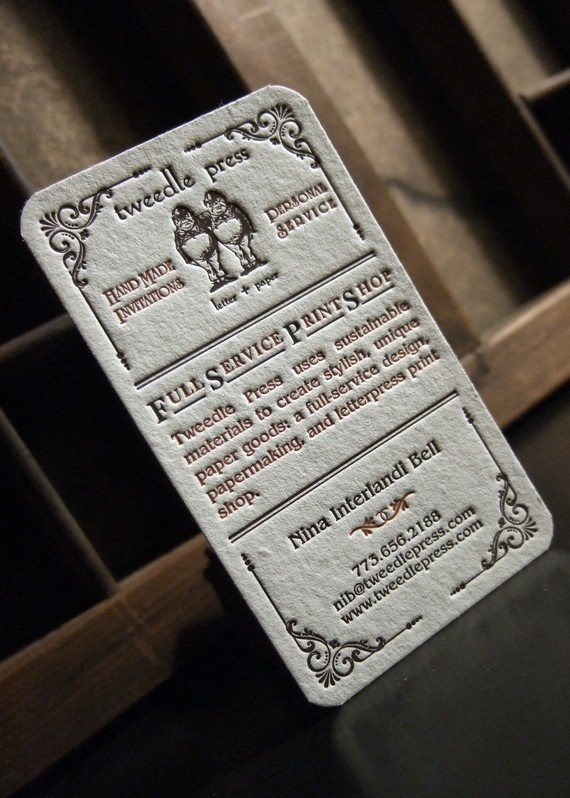 Talk about a nice touch: custom letterpress business cards.