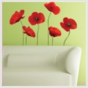 "Poppies at Play Giant Appliques    Dimensions :: 2 sheets (18"" x 40"") + (9"" x 40"") - 12 Elements per pack    Dress up any room with this perky, playful red poppies. This photorealistic flowers are a surefire way to add a touch of spring to a living room, dining area, bedroom, or even the small space of a hallway or bathroom."