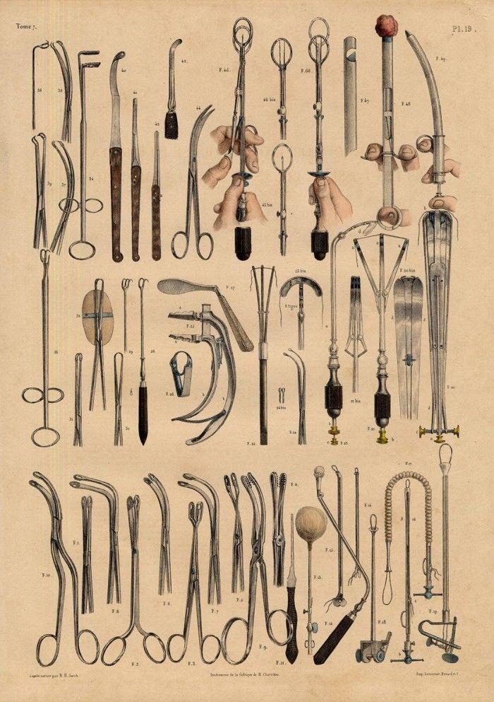 Nicolas Henri Jacob for Jean-Baptiste Marc Bourgery (pinterest.com/pin/287386019948321810).  Illustrations of Surgical Instruments.(pinterest.com/pin/287386019941966857/)
