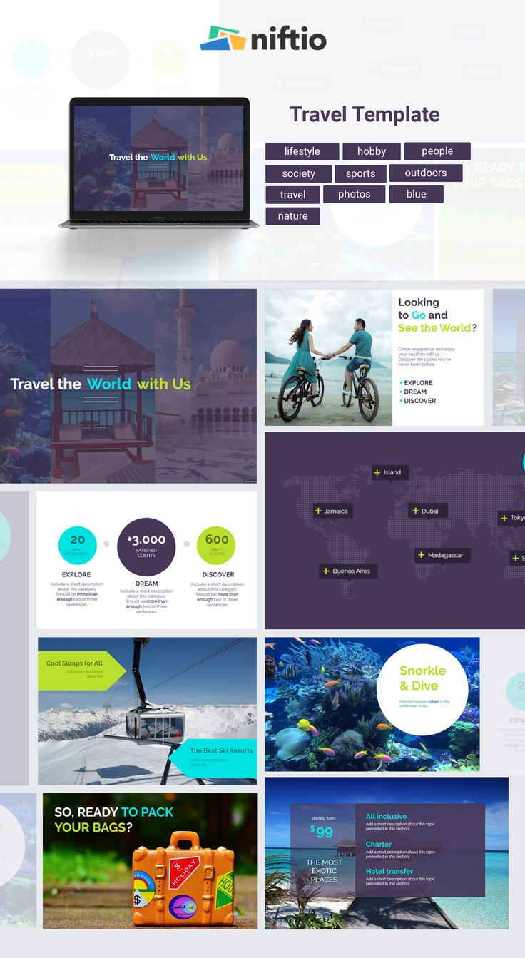 Summer days are over. Share your holiday with a nice presentation starting from this Travel template.