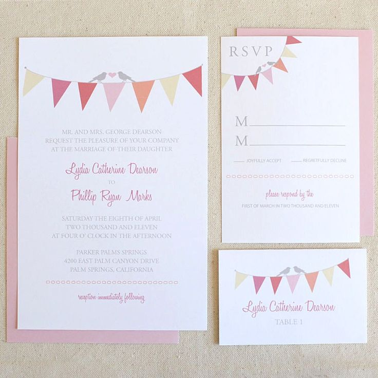 Bunting Invites / 65 FREE Wedding Printables for the DIY Lovers! ♥