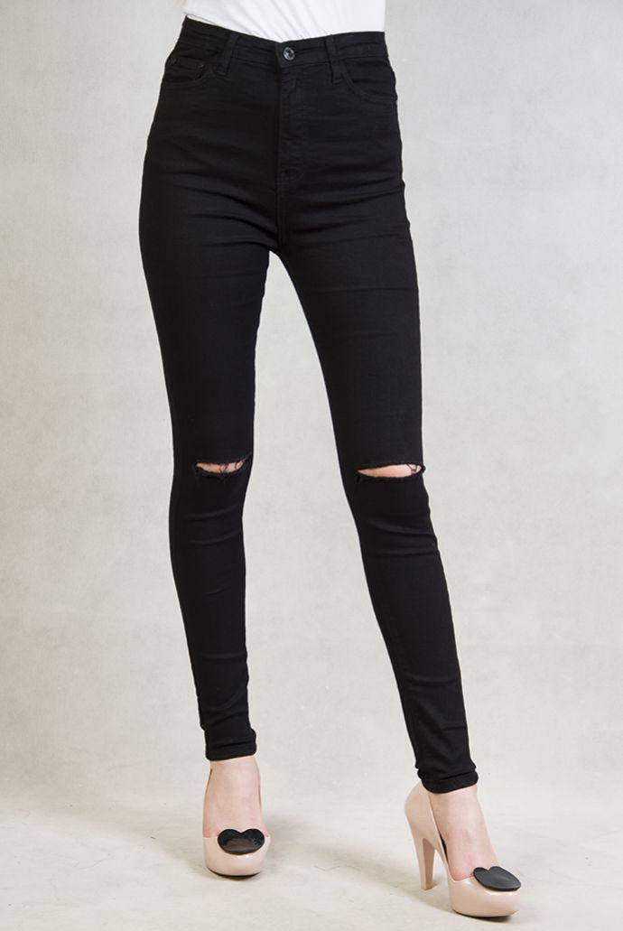 Czarne spodnie jeansowe z rozcięciami na kolanach