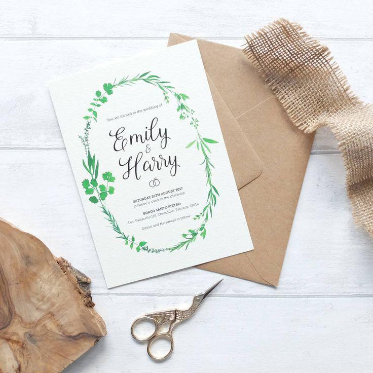 diamond wedding invitations%0A Wreath Wedding Invitation Set Tuscan Sun