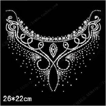 2015 26*22cm crystal stone hot fix rhinestone transfer design,strass hotfix rhinestone iron on motif for clothes dance flower