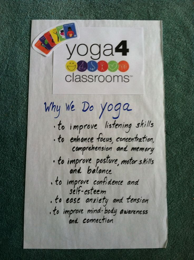 Yoga 4 classrooms Poster is hanging so students know why we do Yoga in the classroom. In order for them to connect their mind and body and engage in yoga, students need to know why they do it.