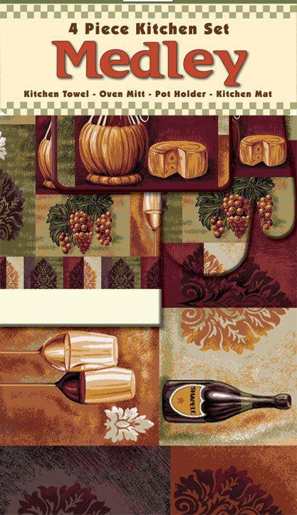 Wine Cheese Grapes Block Mat Towel Oven Mitt Pot Holder 4 Piece Kitchen Rug  Set