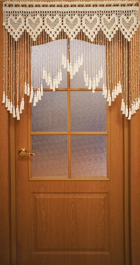 White Door Curtain With Hearts And Acrylic Beads Lace Bead Etsy