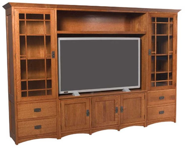 Amish Craft Centers : Prairie mission wall unit entertainment center by simply