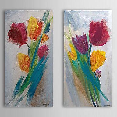 Pintado a mano de la pintura al óleo floral con el marco de estirado Juego de 2 1309C-FL0841 - EUR € 85.95