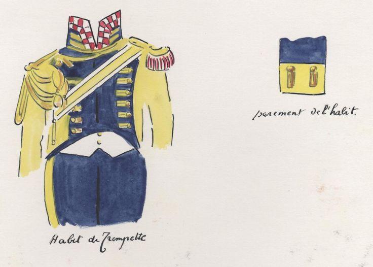 Naples; Garde Royale, Regiment of Velites a Cheval, Trumpeter's Habit & Velite's cuff detail by H.Boisselier