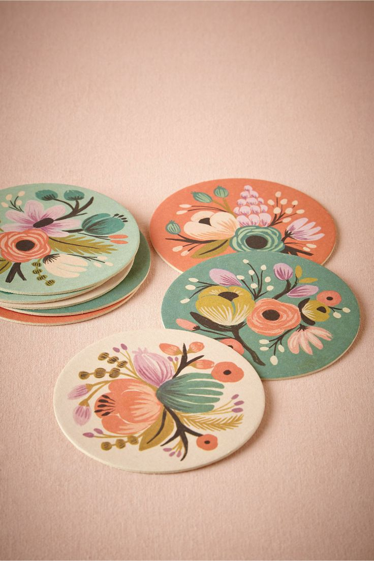 Vintage Bloom Coasters by Rifle Paper Co | botanical motif | available at BHLDN