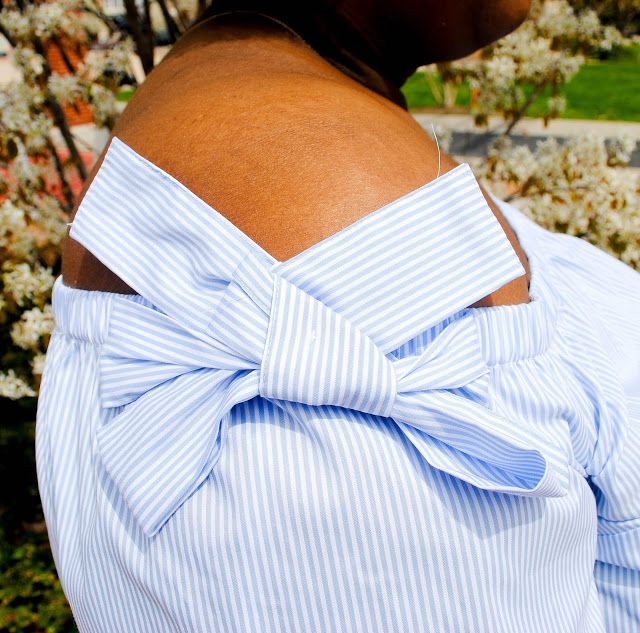 The Preppy Scientist: Off the Shoulder Bow Top and Scalloped Shorts