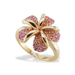 Yellow Gold Plumeria Ring with Pink and Yellow Sapphires - New From Na Hoku - Collections