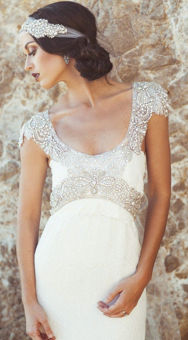 Great Gatsby inspired wedding dress and headpiece!