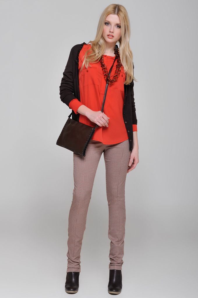 Ruffled knitted cardigan, Crew-neck tunic with pockets, Pied de poule skinny pant