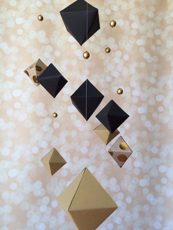 Geometric Baby Mobile - Paper Mobile - Gold and Black Mobile - Crib Mobile - Montessori - Baby Mobile - Nursery mobile - Baby Mobile Hanging