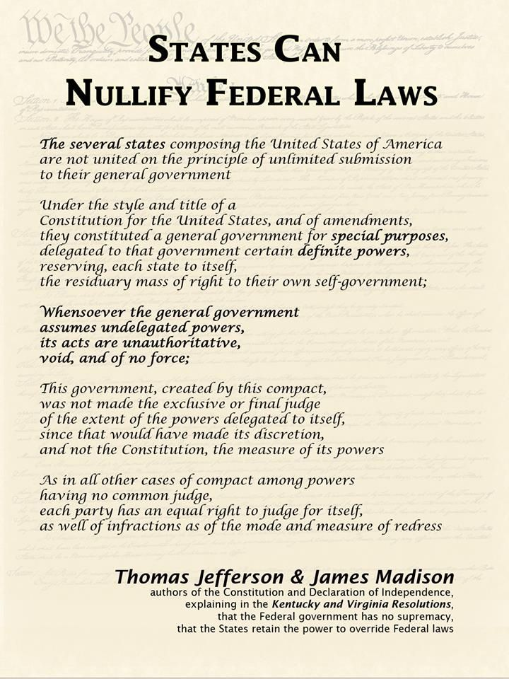 States can nullify federal laws
