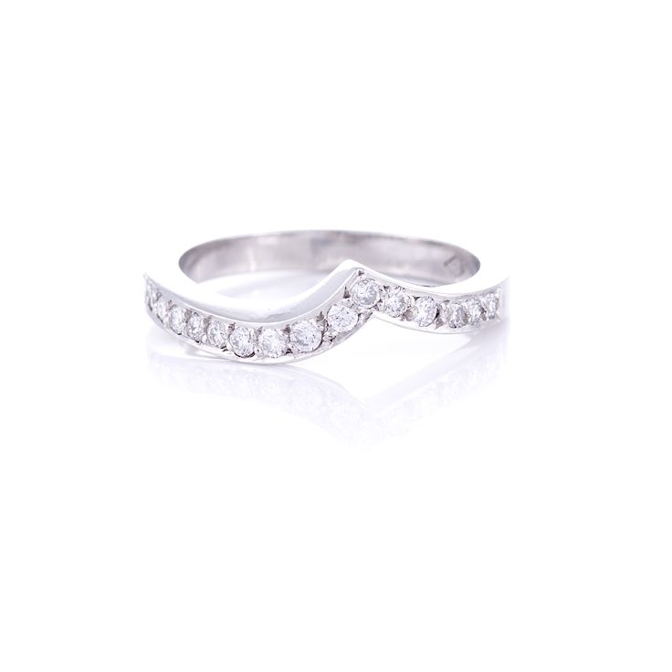 Fitted diamond set wedding band - we can make to fit any engagement ring.