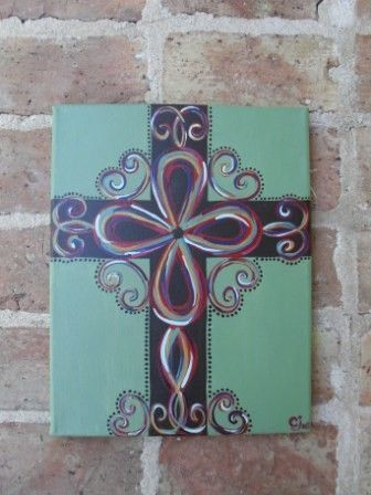 Hand Painted Canvas Cross by PaintItPinkbyCarri on Etsy, $40.00
