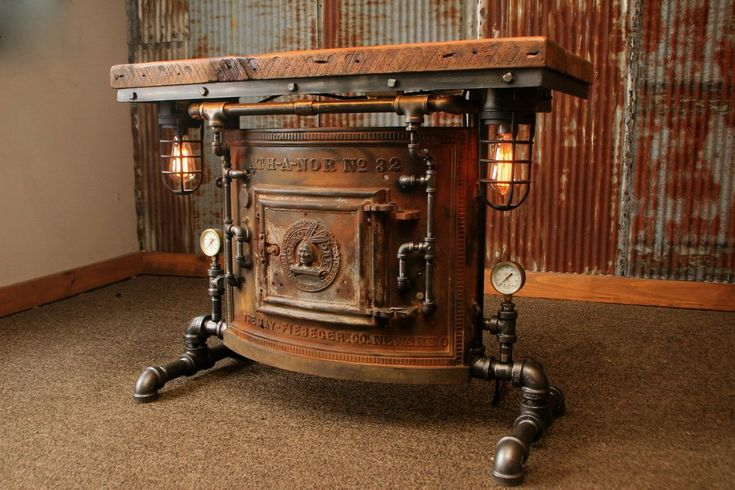 Steampunk Industrial Antique Boiler/Stove Door Table / Barn Wood