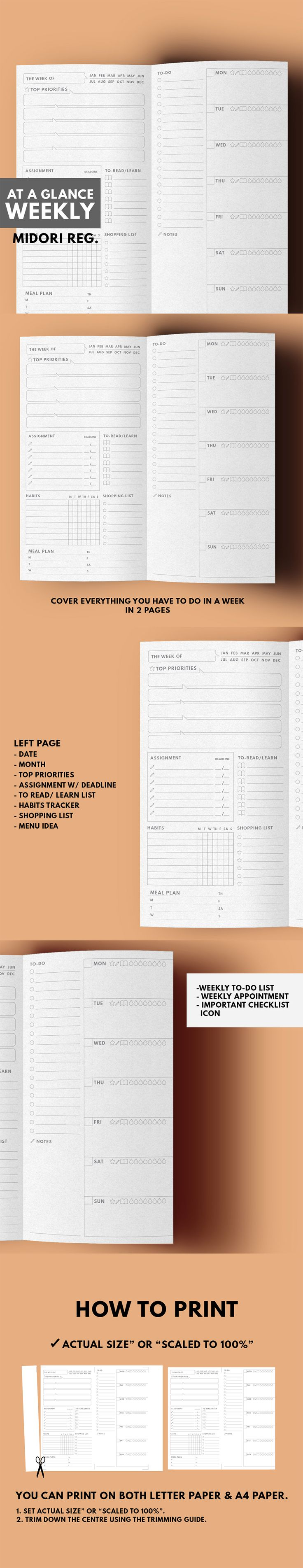 Idée de mise en page semaine. (Midori Traveller's notebook Regular size Printable)