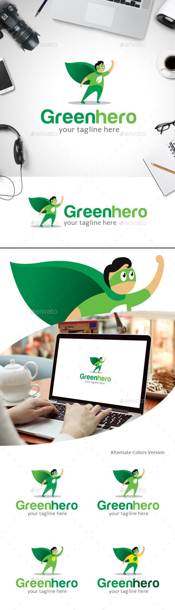 Green Hero Nature care - Logo Design Template Vector #logotype Download it here: http://graphicriver.net/item/green-hero-logo-nature-care/11247374?s_rank=947?ref=nexion