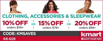 Kmart coupon code: KMART5OFF50:  $10 off new Clothing, Shoes, Home and Jewelry layaway orders of $50 or more,plus earn 3% Cash Back when shop through:  http://www.shop.com/tllin/v246951-c+260.xhtml?vid=246951