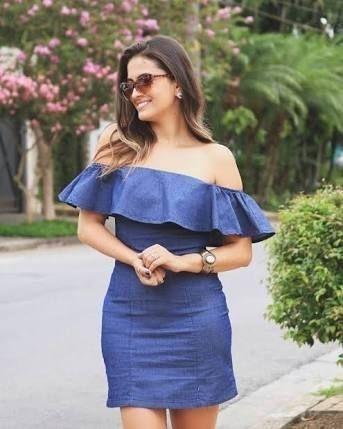61f61efdb Vestido Jeans Ciganinha - Lançamento Primavera/verão 2019 | Fashion ...