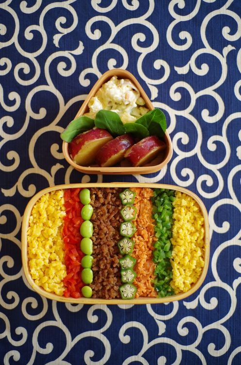 Japanese lunch box - with whole grains or beans or brown rice and vegetables this could be amazingly healthy, and so pretty!