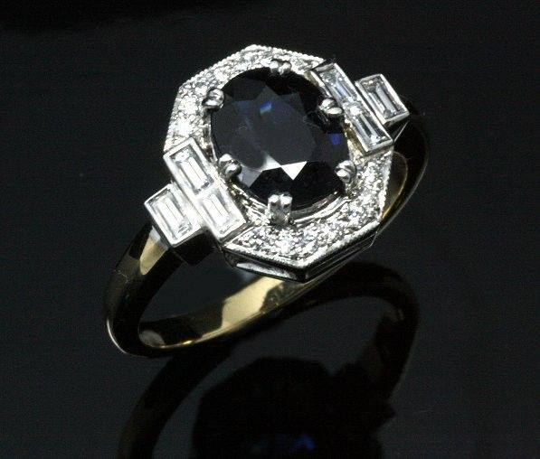 18ct Yellow and White Gold Sapphire and Diamond dress ring. All handmade in Art Deco style.