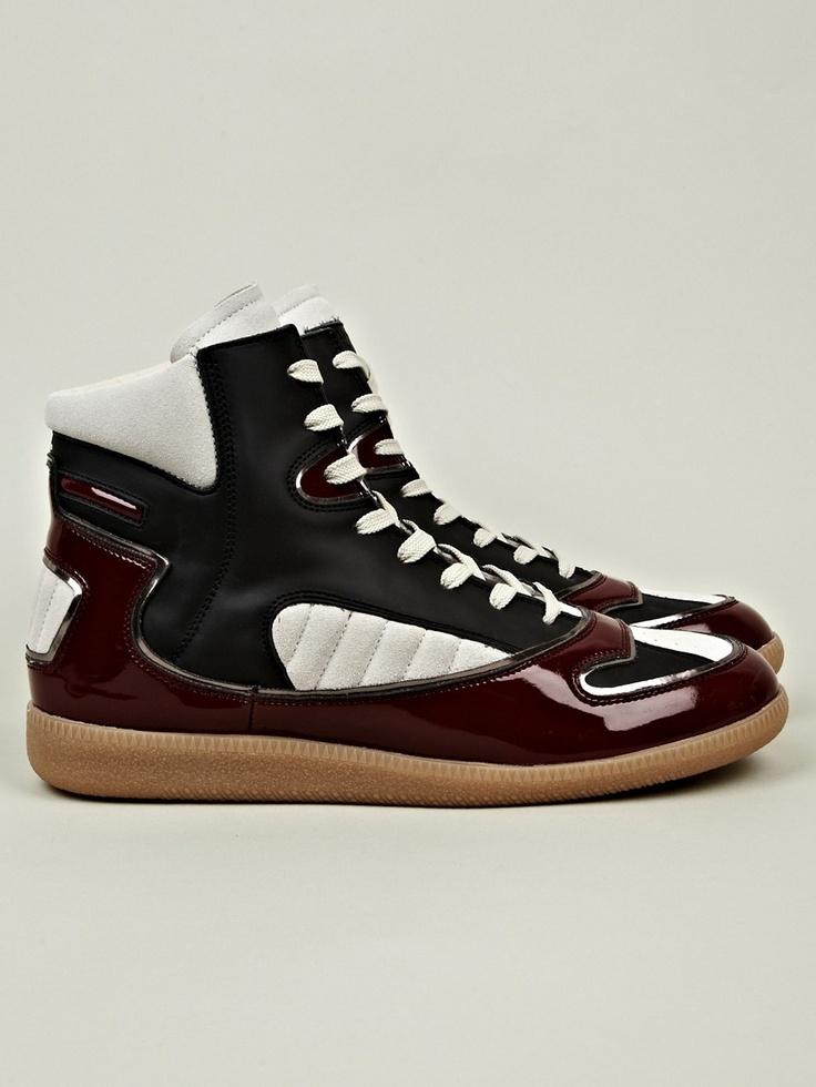 Maison Martin Margiela 22 Men's Burgundy Patent Mixed High-topSneakers
