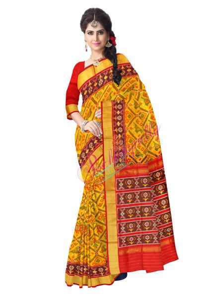 ikat jari petu narikunj yellow color saree