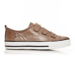 Adorie - taupe. Crafted from buttery soft leather, this casual trainer details functional velcro fastening with signature Moda in Pelle counter stud