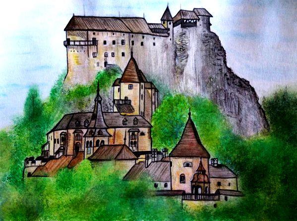 IG: @maggie_creates_   Orava castle watercolor painting