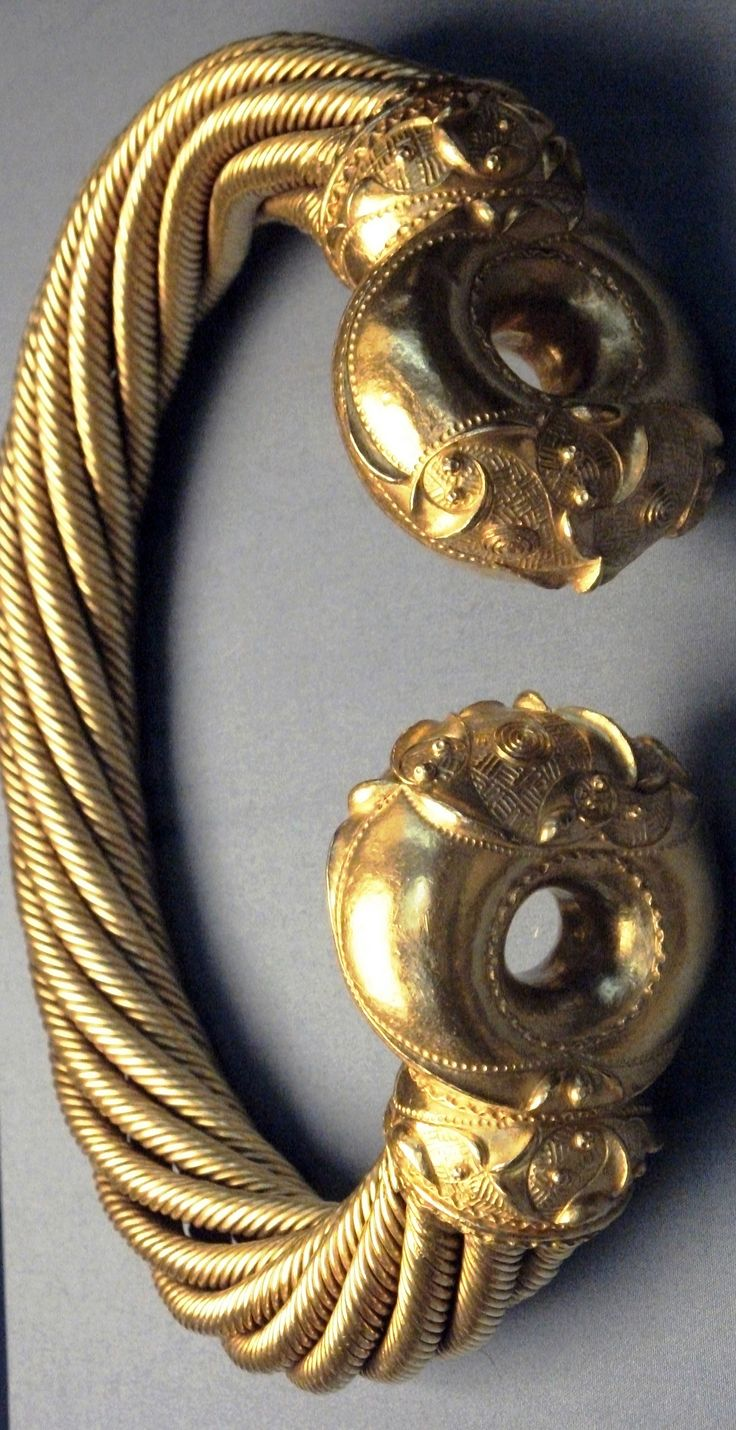 Close-up of one of the Torcs from the Snettisham hoard. From The Iron Age Around 75BC