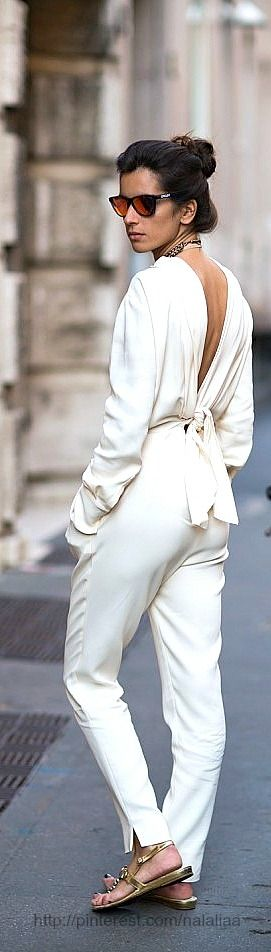 White backless jumpsuit. Love.