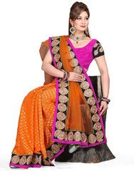 Orange Color Half Net & Half Viscose Butti Function & Party Wear Sarees : Aditri Collection  YF-41433